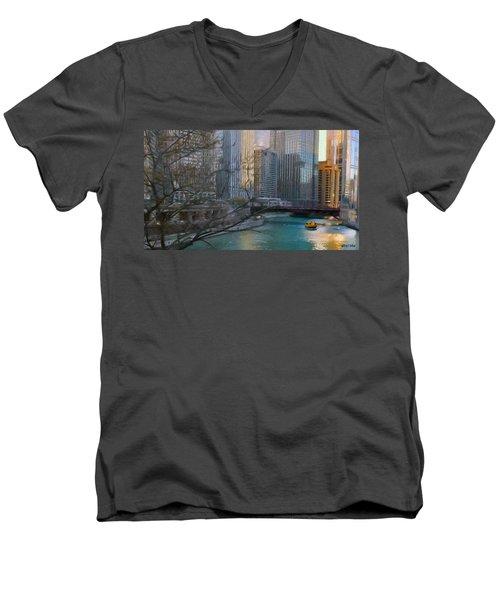 Chicago River Sunset Men's V-Neck T-Shirt by Jeff Kolker