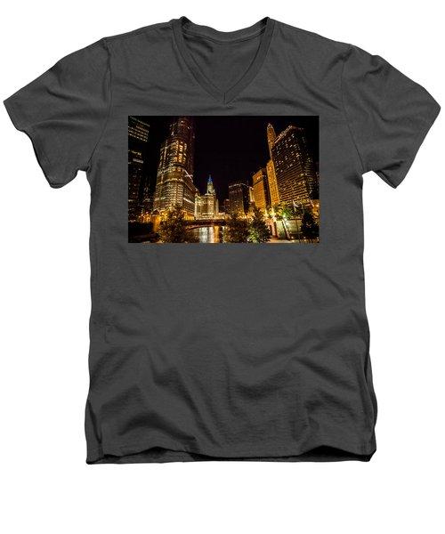 Chicago Riverwalk Men's V-Neck T-Shirt by Melinda Ledsome