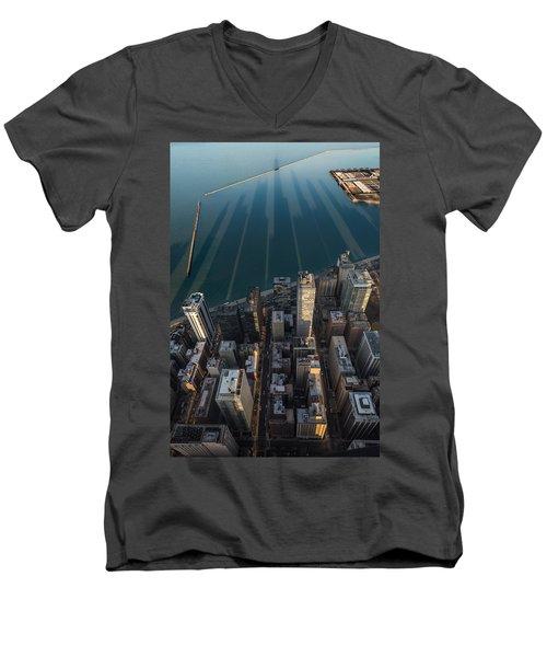 Chicago Shadows Men's V-Neck T-Shirt by Steve Gadomski
