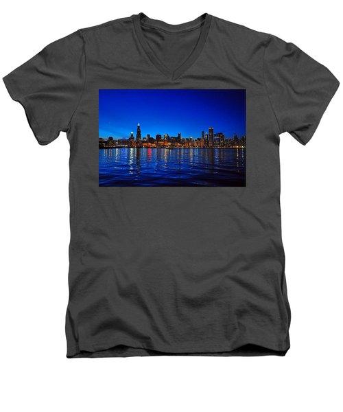 Chicago Skyline At Dusk Men's V-Neck T-Shirt