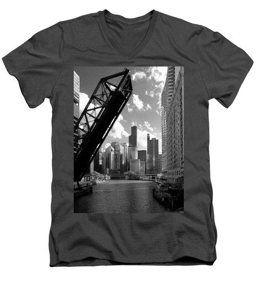 Chicago-skyline-raised Bridge Black White Men's V-Neck T-Shirt