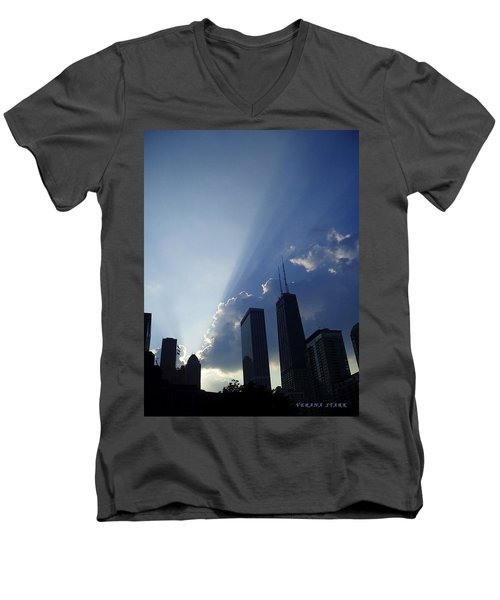Chicago Sunset Men's V-Neck T-Shirt by Verana Stark