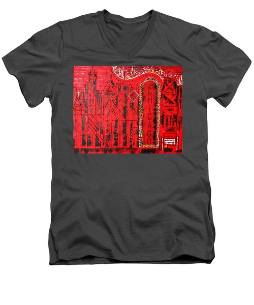 Chicago Theater Men's V-Neck T-Shirt by George Riney