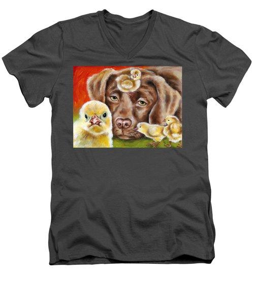 Chick Sitting Afternoon Men's V-Neck T-Shirt
