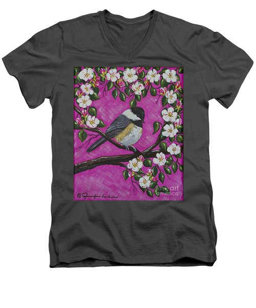 Men's V-Neck T-Shirt featuring the painting Chickadee In Apple Blossoms by Jennifer Lake
