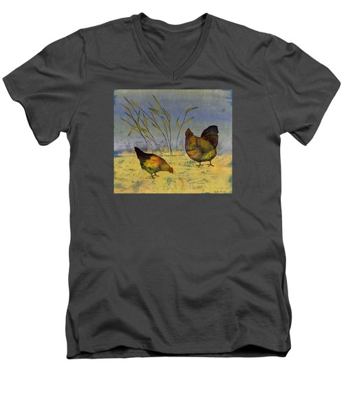 Chickens On Silk Men's V-Neck T-Shirt by Carolyn Doe