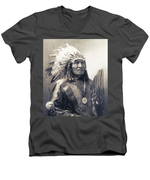 Chief He Dog Of The Sioux Nation  C. 1900 Men's V-Neck T-Shirt by Daniel Hagerman
