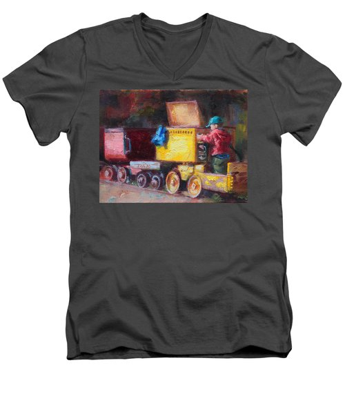 Child's Play - Gold Mine Train Men's V-Neck T-Shirt