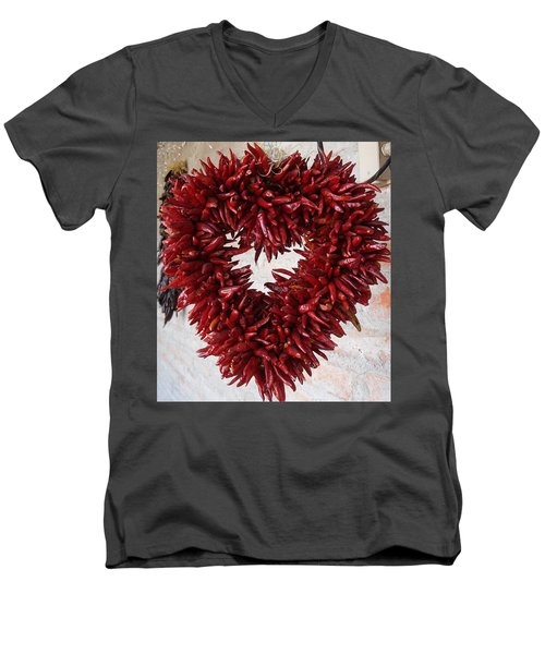 Men's V-Neck T-Shirt featuring the photograph Chili Pepper Heart by Kerri Mortenson