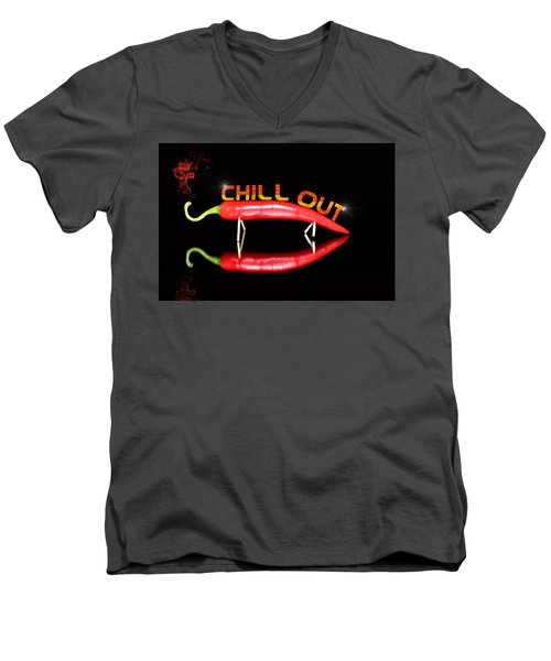 Chilli Pepper And Text Chill Out Men's V-Neck T-Shirt