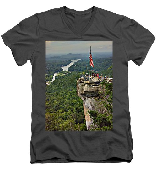 Men's V-Neck T-Shirt featuring the photograph Chimney Rock Overlook by Alex Grichenko