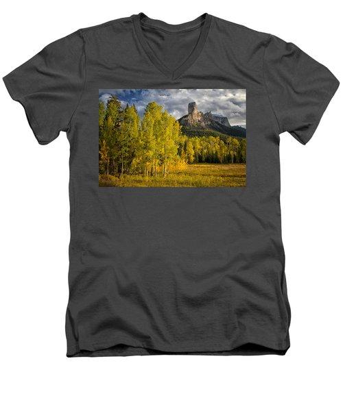 Chimney Rock San Juan Nf Colorado Img 9722 Men's V-Neck T-Shirt by Greg Kluempers