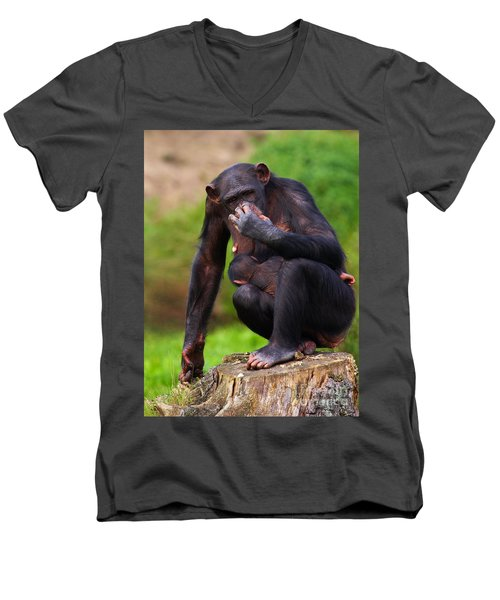 Chimp With A Baby On Her Belly  Men's V-Neck T-Shirt