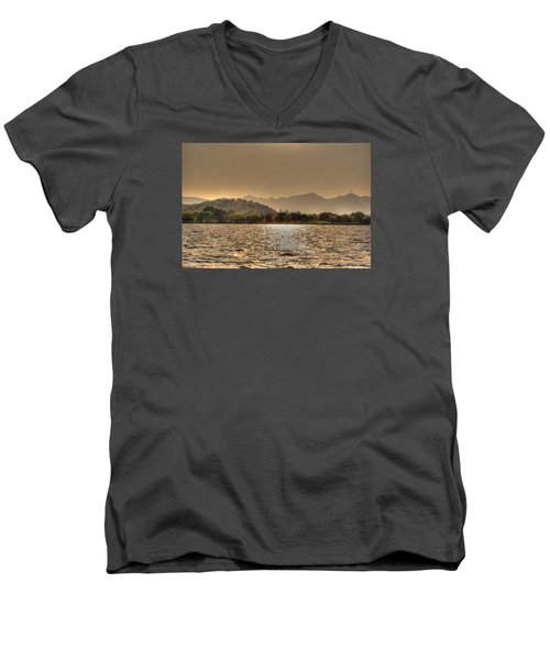 China Lake Sunset Men's V-Neck T-Shirt