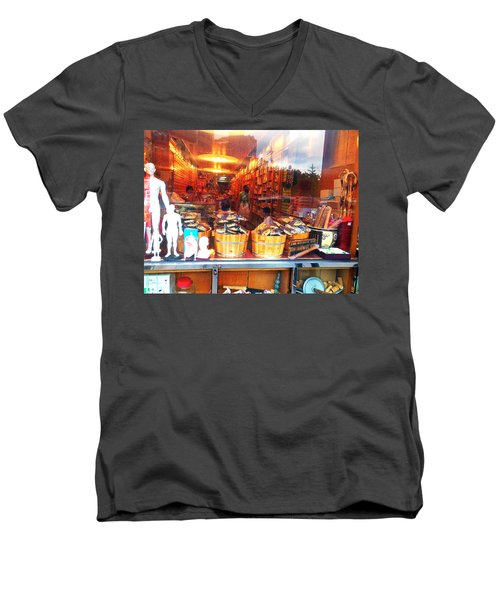 Men's V-Neck T-Shirt featuring the photograph Chinatown Nyc Herb Shop by Joan Reese