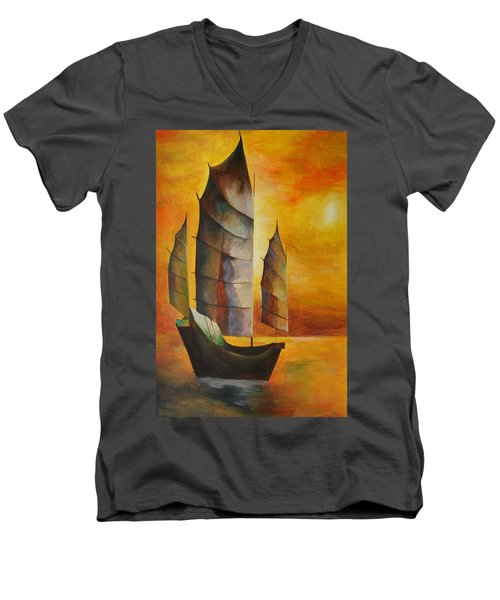 Men's V-Neck T-Shirt featuring the painting Chinese Junk In Ochre by Tracey Harrington-Simpson