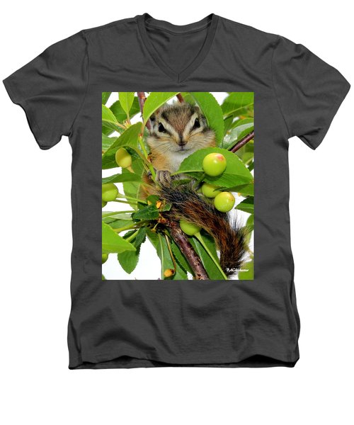 Men's V-Neck T-Shirt featuring the photograph Chip Or Dale by Barbara Chichester