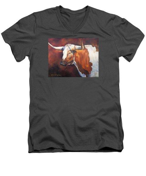 Chisholm Longhorn Men's V-Neck T-Shirt by Karen Kennedy Chatham