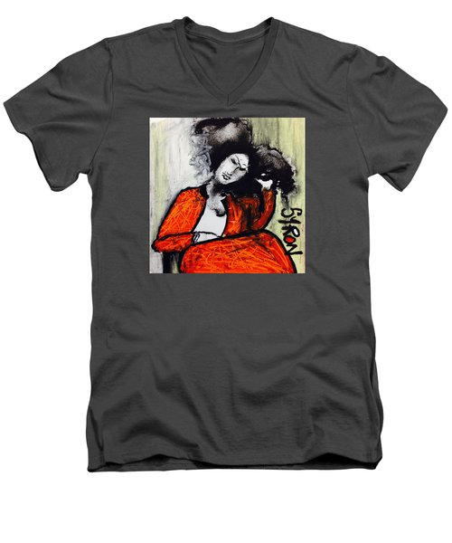 Men's V-Neck T-Shirt featuring the drawing Chloe by Helen Syron