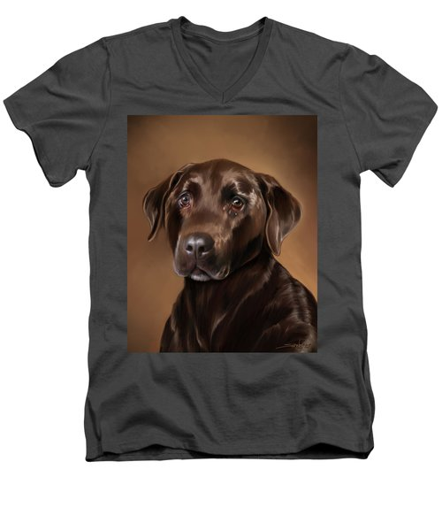 Chocolate Lab Men's V-Neck T-Shirt by Michael Spano