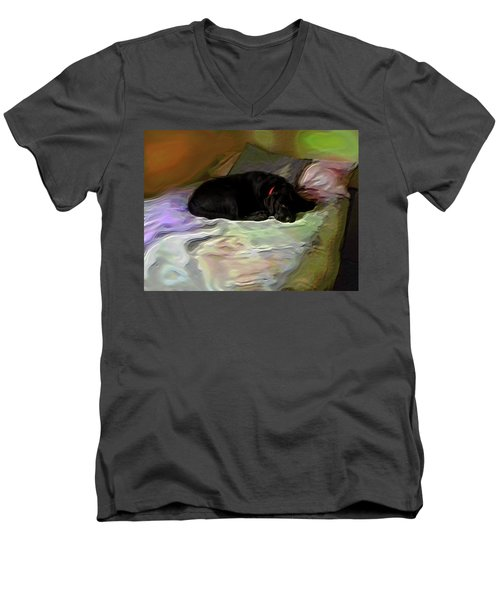 Men's V-Neck T-Shirt featuring the mixed media Chopper Dreams Of Beds by Terence Morrissey