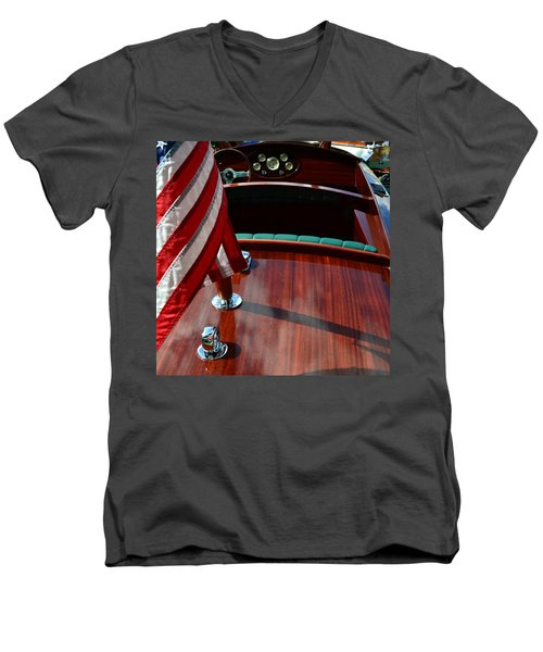 Chris Craft With Flag And Steering Wheel Men's V-Neck T-Shirt by Michelle Calkins