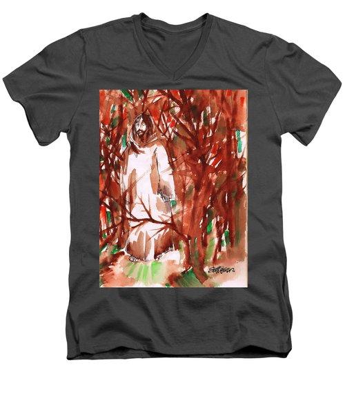 Christ In The Forest Men's V-Neck T-Shirt