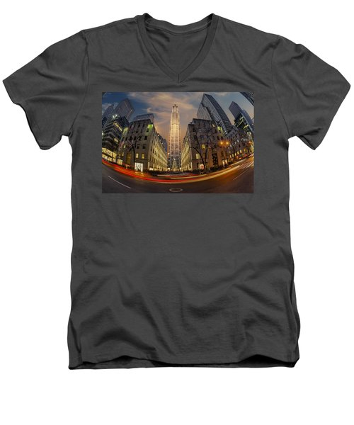 Christmas At Rockefeller Center Men's V-Neck T-Shirt by Susan Candelario