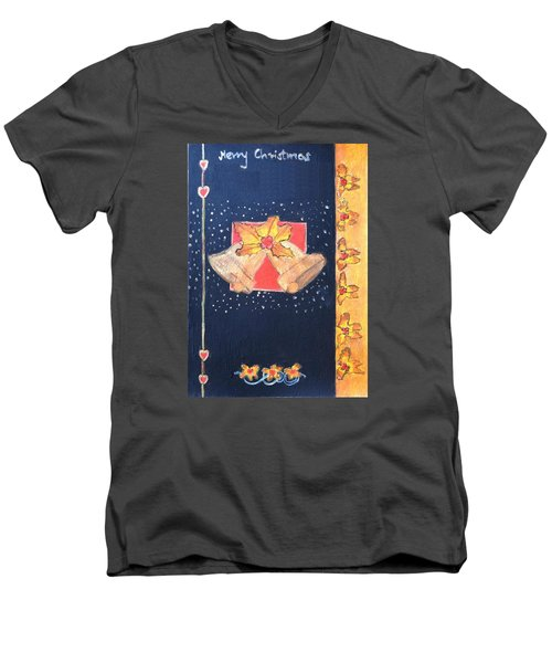 Men's V-Neck T-Shirt featuring the painting Christmas Bells by Magdalena Frohnsdorff