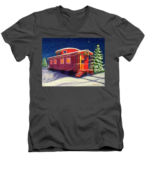 Christmas Caboose Men's V-Neck T-Shirt