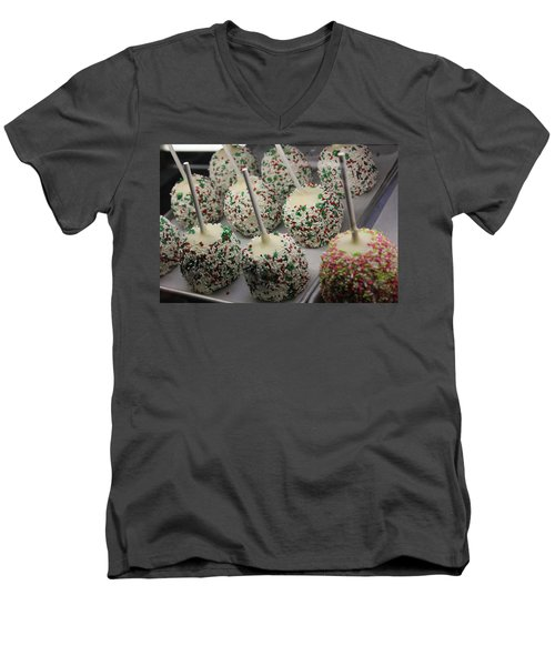 Men's V-Neck T-Shirt featuring the photograph Christmas Candy Apples by Bill Owen
