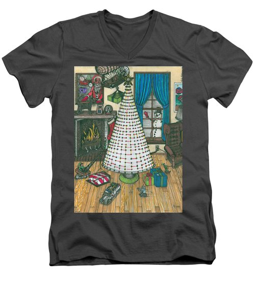 Christmas Card Drawing Men's V-Neck T-Shirt