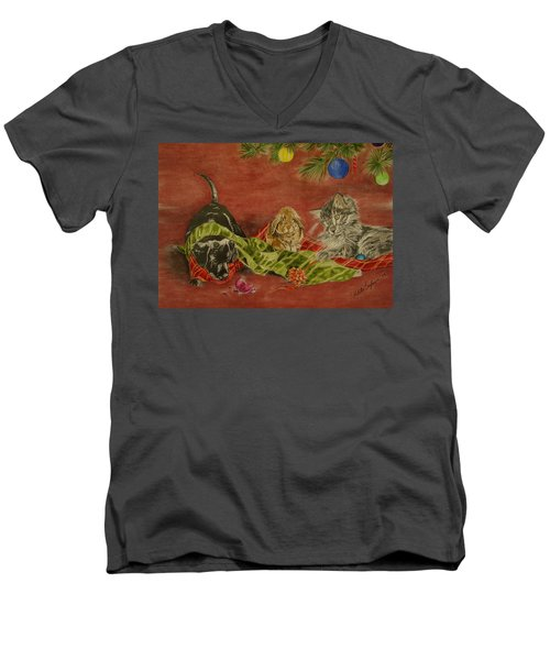 Men's V-Neck T-Shirt featuring the drawing Christmas Friends by Melita Safran
