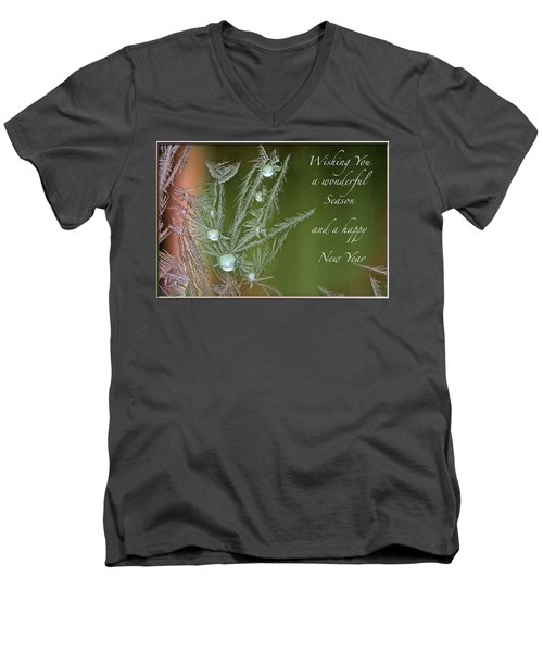 Men's V-Neck T-Shirt featuring the mixed media Christmas Greeting Card Ice Flowers by Peter v Quenter