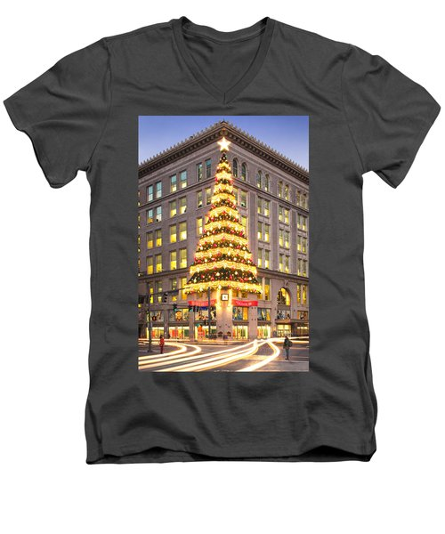 Christmas In Pittsburgh  Men's V-Neck T-Shirt by Emmanuel Panagiotakis