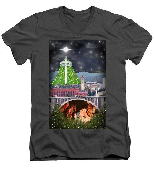 Christmas In Spokane Men's V-Neck T-Shirt