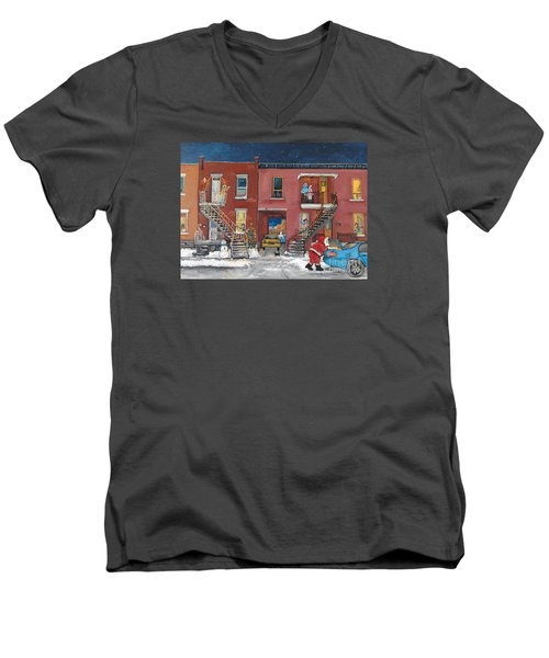 Christmas In The City Men's V-Neck T-Shirt by Reb Frost