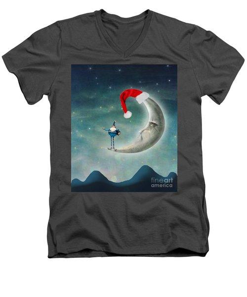 Christmas Moon Men's V-Neck T-Shirt by Juli Scalzi