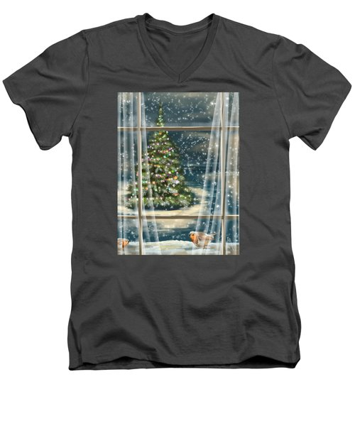 Christmas Night Men's V-Neck T-Shirt by Veronica Minozzi