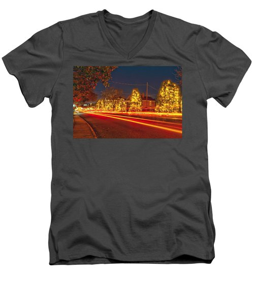 Men's V-Neck T-Shirt featuring the photograph Christmas Town Usa by Alex Grichenko