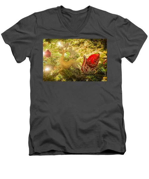 Men's V-Neck T-Shirt featuring the photograph Christmas Tree Ornaments by Alex Grichenko