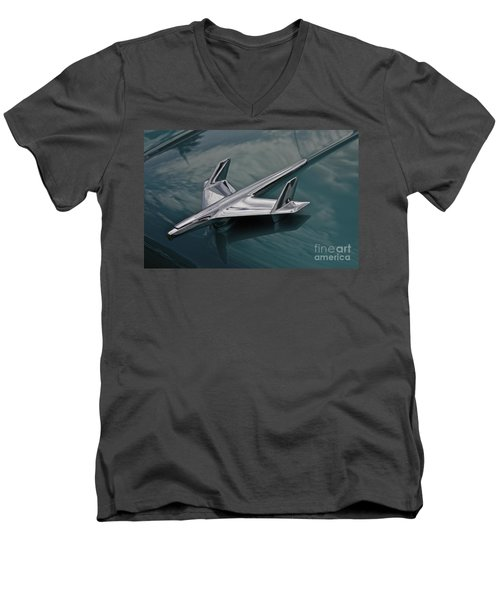 Chrome Airplane Hood Ornament Men's V-Neck T-Shirt by Linda Bianic