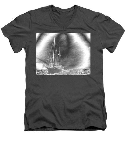 Chromed Sailboats In Key Largo Men's V-Neck T-Shirt by Belinda Lee