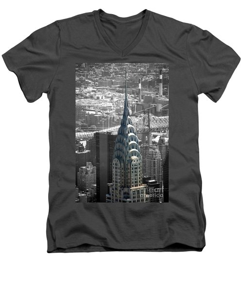 Men's V-Neck T-Shirt featuring the photograph Chrysler Building by Angela DeFrias