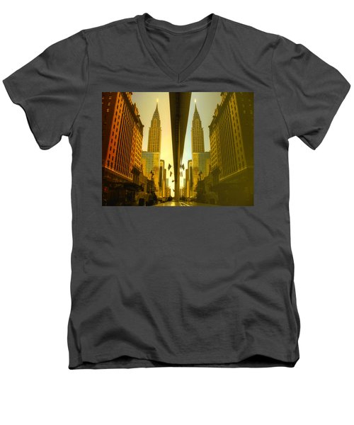 Chrysler Reflection On 42nd Street Men's V-Neck T-Shirt