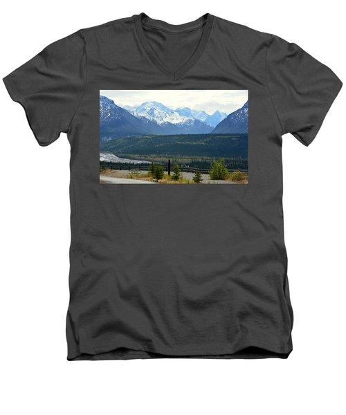 Chugach Mountains Men's V-Neck T-Shirt by Andrew Matwijec