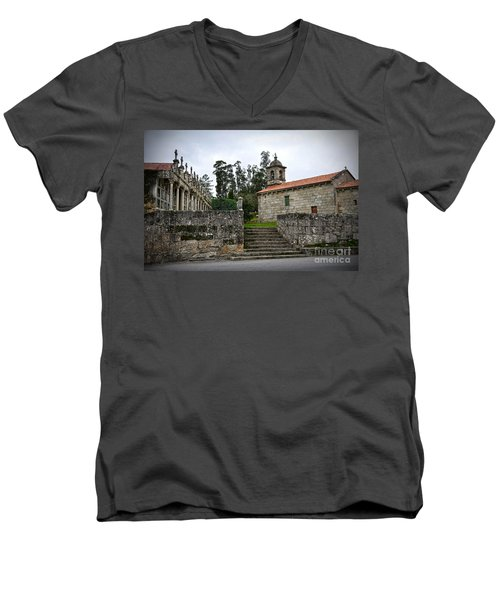 Church And Cemetery In A Small Village In Galicia Men's V-Neck T-Shirt