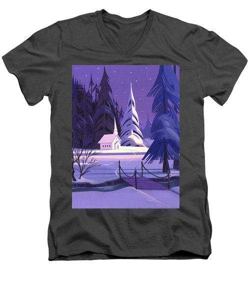 Men's V-Neck T-Shirt featuring the painting Church In Snow by Michael Humphries