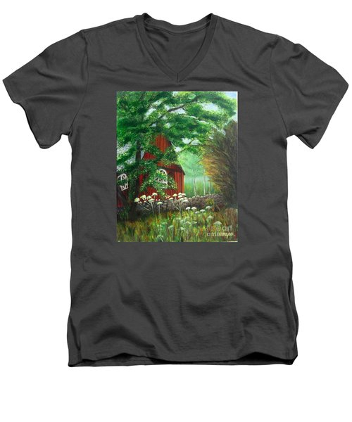 Church In The Glen Men's V-Neck T-Shirt by Laurie Morgan