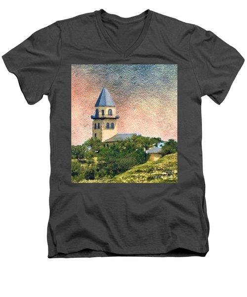 Church On Hill Men's V-Neck T-Shirt by Janette Boyd